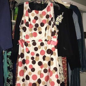 Kim Rogers Pink & Brown Polka-Dot Ribbon Dress 22W